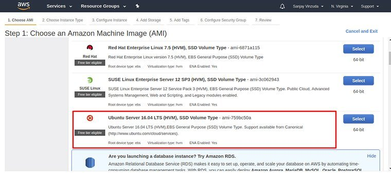 4. Choose an Amazon Machine Image (AMI) :