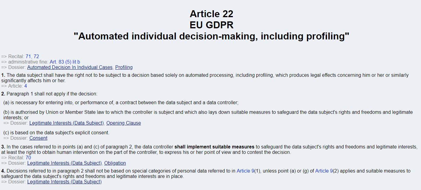 Full text of GDPR Article 22