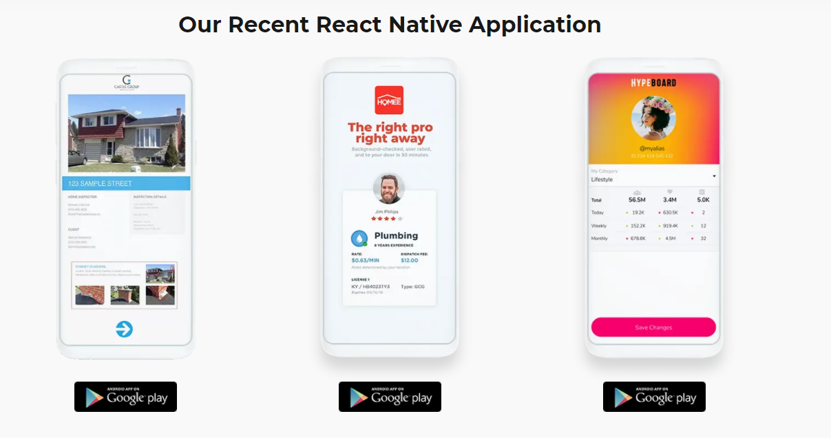 our recent react native app