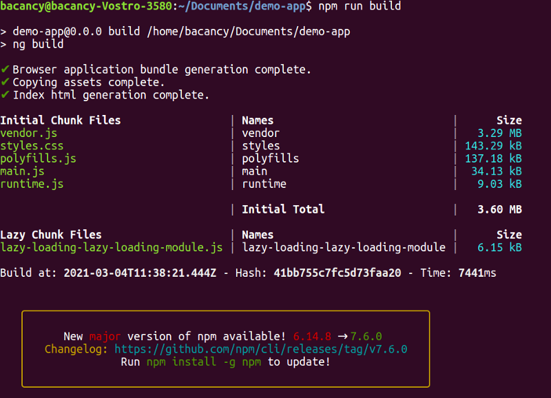 verify Lazy loading in Angular